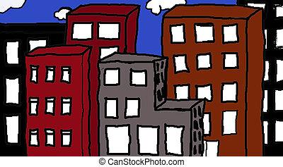 Big City - Illustration of a colorful big city landscape.