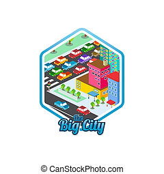 big city isometric real estate realty cartoon logo template ...