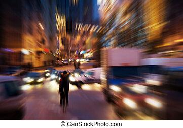 Big city life at night. Dynamic motion blur