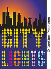 big city lights - night view of the city, the outlines of...