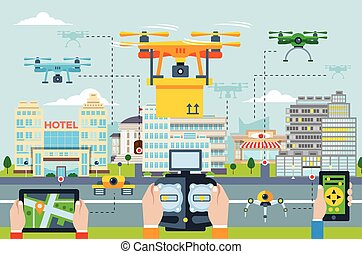 Big City Modern Technologies Concept
