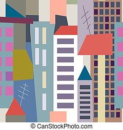 Big city seamless pattern - high buildings