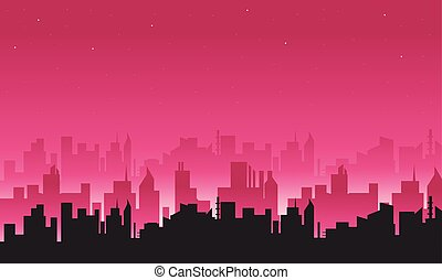 Big city silhouettes illustration