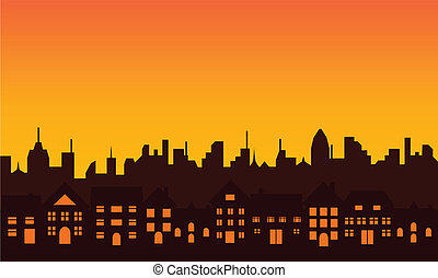 Big city skyline silhouette - Big city skyline during...