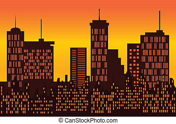 Big city skyline silhouette