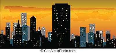 Big City Skyline Sunset