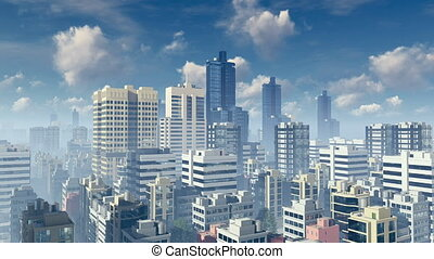 Big city skyscrapers time lapse 4K