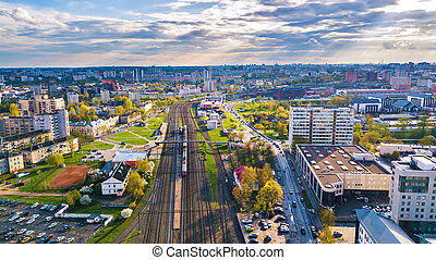 Big city spring aerial view. Railroad station. Cityscape of Minsk
