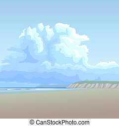 Vector illustration background: big cloud in blue sky over the lonely long sandy coast with the steep bank on the horizon.