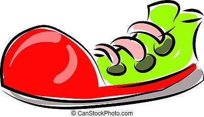 Big clown shoe, illustration, vector on white background.