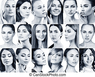 Big collage of different beautiful women.