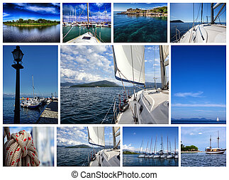 collage the theme yacht and travel