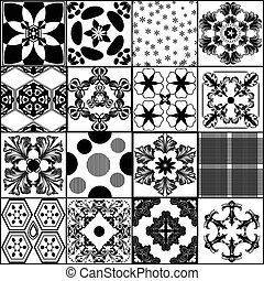 Big collection from seamless vector patterns in retro style.eps