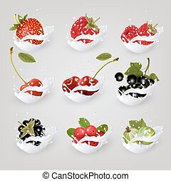 Big collection icons of fruit and berries in a milk splash....