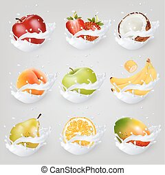 Big collection icons of fruit in a milk splash. Apple, mango...