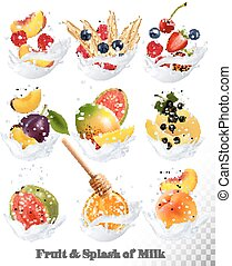 Big collection icons of fruit in a milk splash. Guava, plum, mango, blackcurrant, strawberry, cherry, blueberry, honey, melon, peach. Vector Set