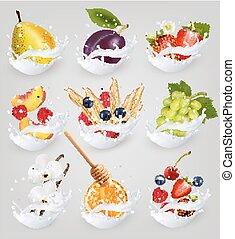 Big collection icons of fruit in a milk splash. Raspberry, strawberry, mango, vanilla, peach, apple, money, nuts, chocolate, orange, wheat, pear, grapes