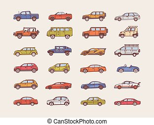 Big collection of cars of various body configuration styles...