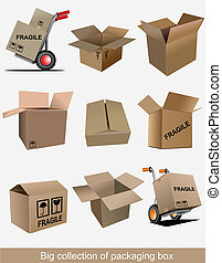 Big collection of carton packaging boxes. Vector...