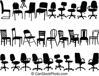 big collection of chairs - vector