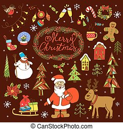 Big collection of Christmas doodles elements.