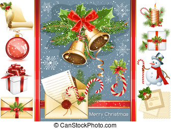 Big collection of Christmas objects. vector illustration