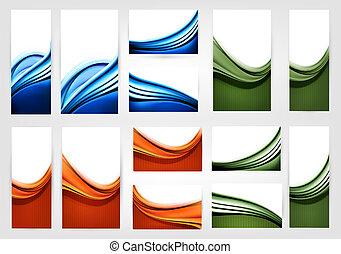Big collection of colorful business cards. Vector illustration.
