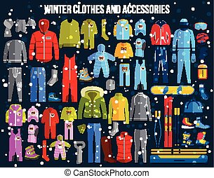 Big collection of cozy winter clothes and winter sport games accessories for women, men and children. Skiing, snowboard, boots, glasses. Flat style design icons set.