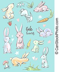 Big collection of cute cartoon style hares in different positions , bunnies with carrots, hearts, mushroom, grass, flowers, strawberry and lily of the valley