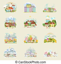 big collection of cute cityscape in different season for your de