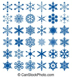 Big collection of different snowflakes
