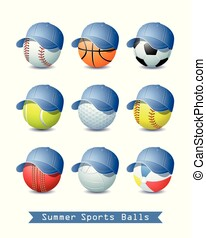 Big Collection of different Summer Sports Balls with a Denim Baseball cap.