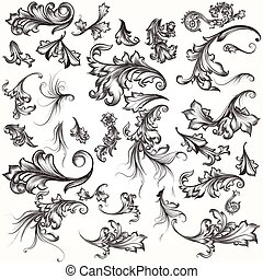 Big collection of filigree hand drawn flourishes in vintage ...