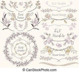 Big Collection of Floral Design Elements, Dividers, Frames