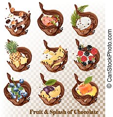 Big collection of fruit in a chocolate splash. Strawberry, blueberry, grandberry, plum, pear, guava, strawberry, coconut, banana, nuts, pineapple, blackberry, coffee. Vector Set