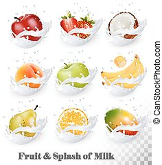 Big collection of fruit in a milk splash
