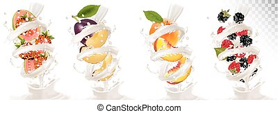 Big collection of fruit in a milk splash. Strawberry, blackberry, plum, peach, strawberry, guava.  Vector Set