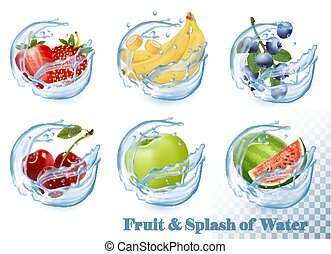 Big collection of fruit in a water splash icons. Apple, banana, watermelon, blueberry, strawberry, cherry. Vector Set