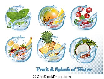 Big collection of fruit in a water splash icons. Mint, mango, crawberry, banana, strawberry, coconut. Vector Set