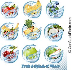 Big collection of fruit in a water splash icons. Pineapple, apple, banana, watermelon, blueberry, guava, strawberry, coconut, cherry, raspberry, orange. Vector Set
