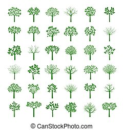 Big Collection of Green Trees. Vector Illustration.