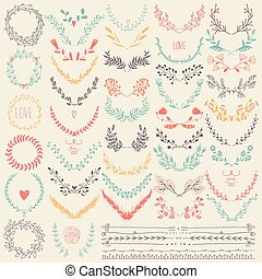 Big collection of hand drawn floral - Hand drawn floral set...