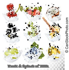 Big collection of icons of fruit and berries in a milk splash. Strawberry, apple, blackberry, blueberry, honey, orange, grapes. Vector