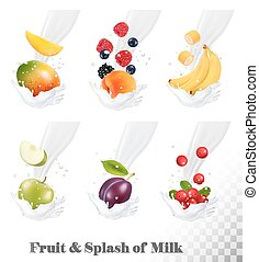 Big collection of icons of fruit and berries in a milk...