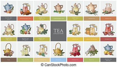 Big collection of labels or tags with various types of tea...