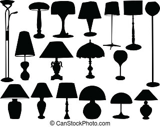 big collection of lamps - vector