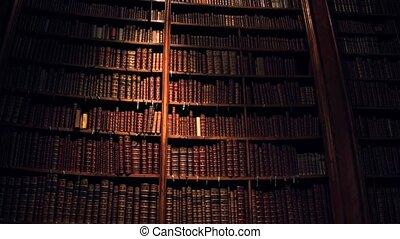 Big collection of old uncognizable books. 4K steadicam shot...