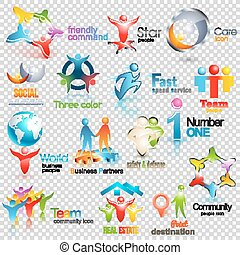 Big collection of people vector logos. Business Social Corporate Identity. Human icons Design illustration