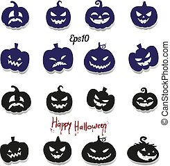 Big collection of pumpkins for decoration for the holiday of Halloween, silhouette on a white background