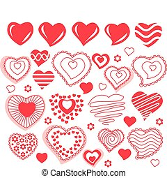 Big collection of red contour heart shapes